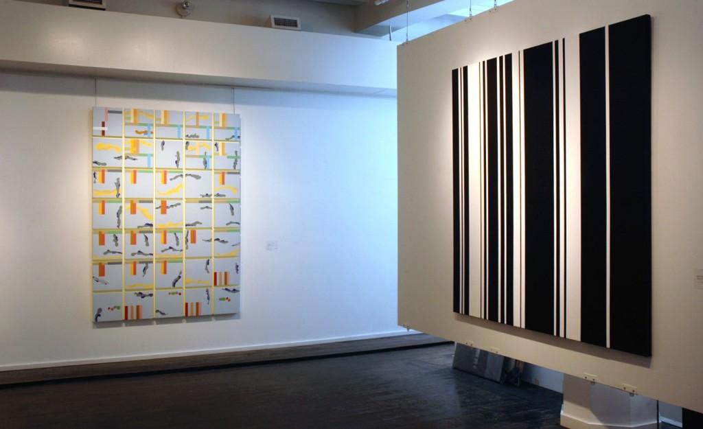 L'ÉCRIRE EN PEINTURE (vue de l'exposition/ exhibition view), 2009, Galerie Orange, Montréal. MARIO CÔTÉ, 2007, Crippled Symmetry#3, (Acrylique sur toile/ Acrylc on canvas) 190 x 135 cm, VÉRONIQUE SAVARD, Cybersexe au bureau, 2009 (Acrylique sur toile/ Acrylic on canvas) 183 x 183 cm